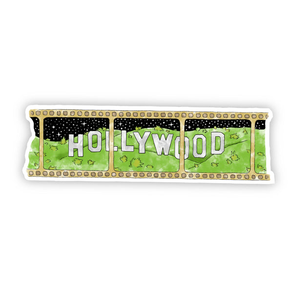 Hollywood Movie Golden Reel and Stars Sticker - Black Outline Watercolor California