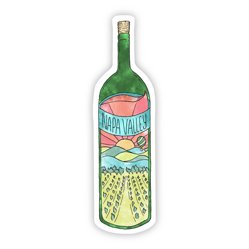 Napa Valley Green Wine Bottle Sticker - Watercolor