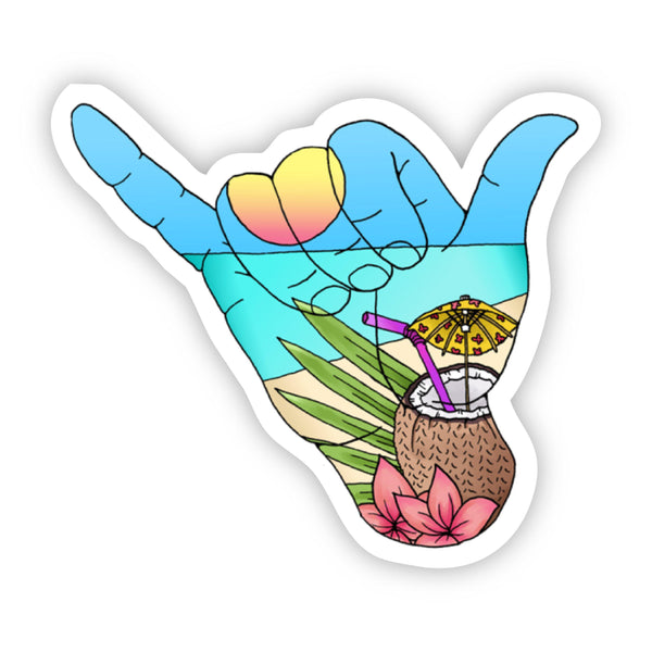 Hang Loose Beach Sticker - coconut