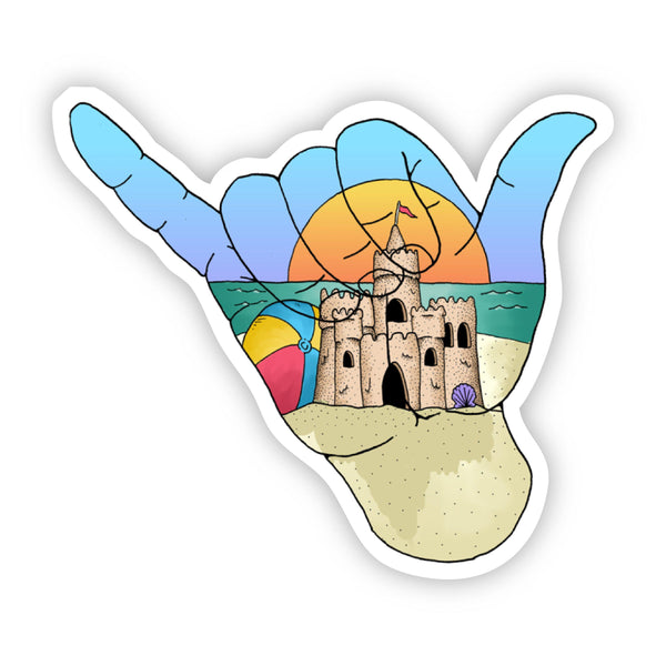 Hang Loose Sand Castle Beach Sticker