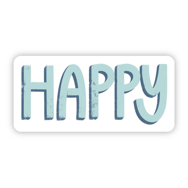 Happy Blue and Teal Sticker