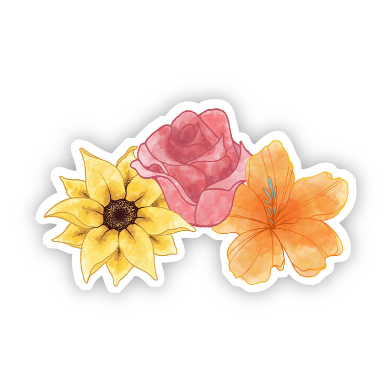 Sunflower, Rose, Lily Watercolor Sticker