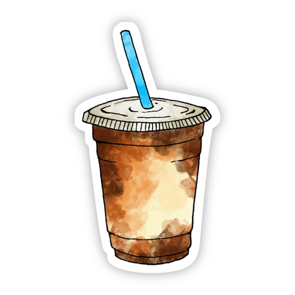 Iced Coffee Blue Straw Sticker
