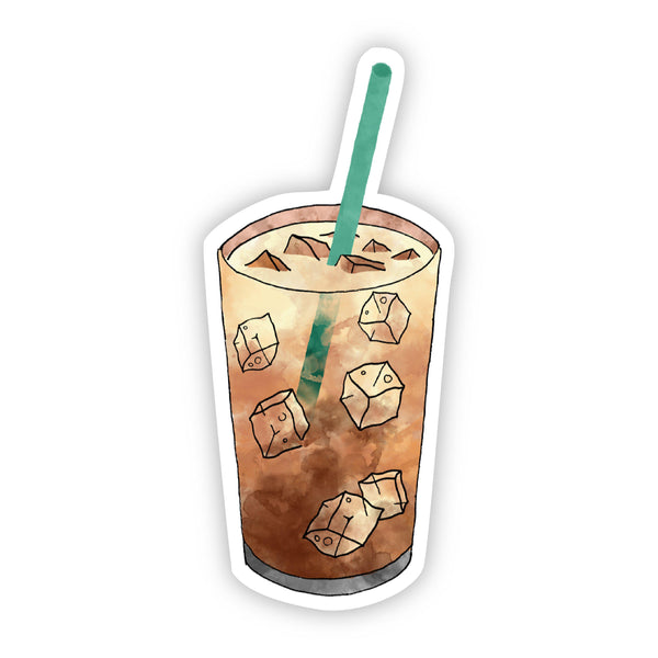Iced Coffee Green Straw Sticker
