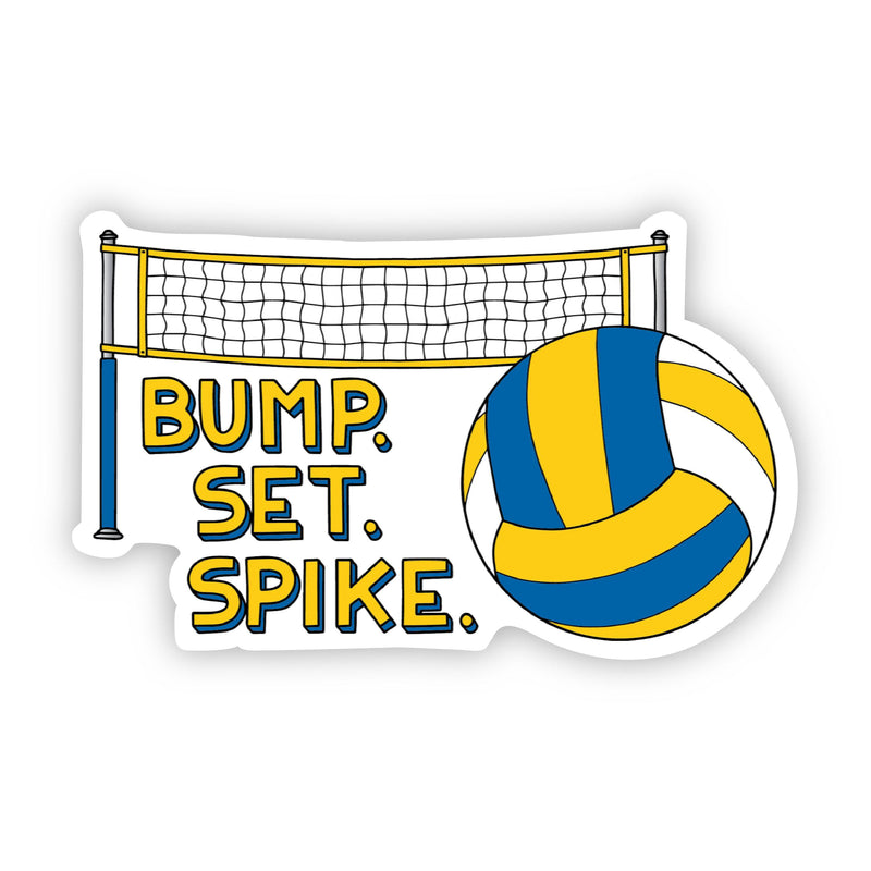 Bump. Set. Spike. Blue and Yellow Volleyball Sticker