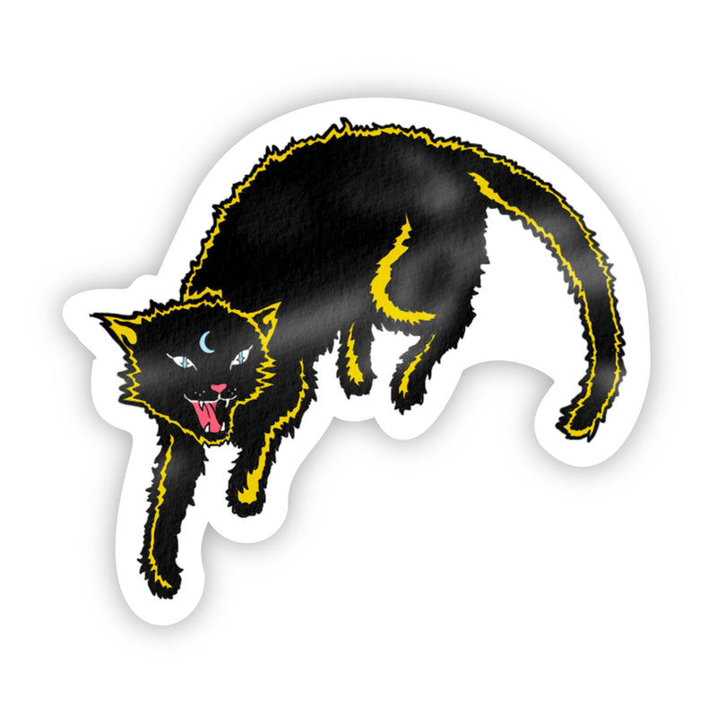 Black Cat With Yellow Halloween Sticker