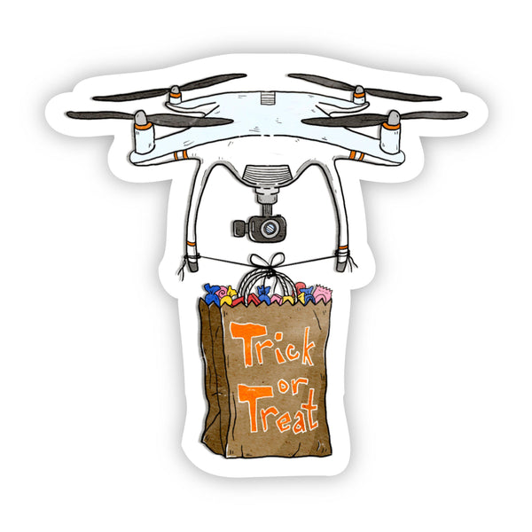 Trick or Treat Drone Halloween Sticker - Pandemic Edition