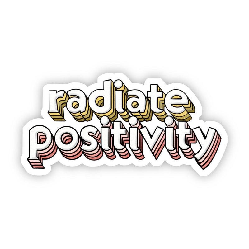 Radiate Positivity Yellow & Pink Lettering Sticker