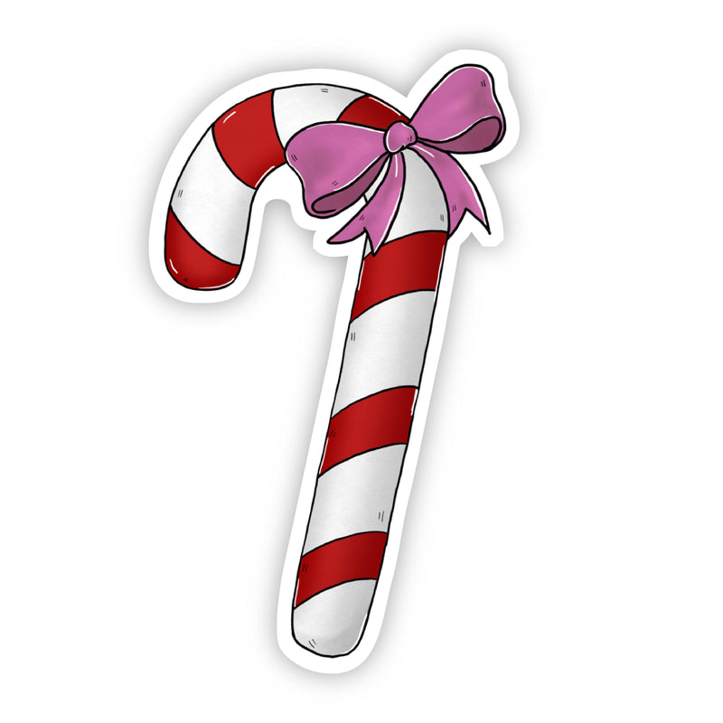 Candy Cane with Pink Bow Sticker