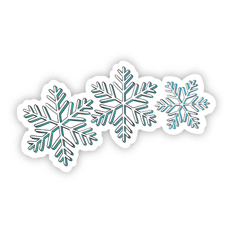 Three Snowflakes Teal Sticker