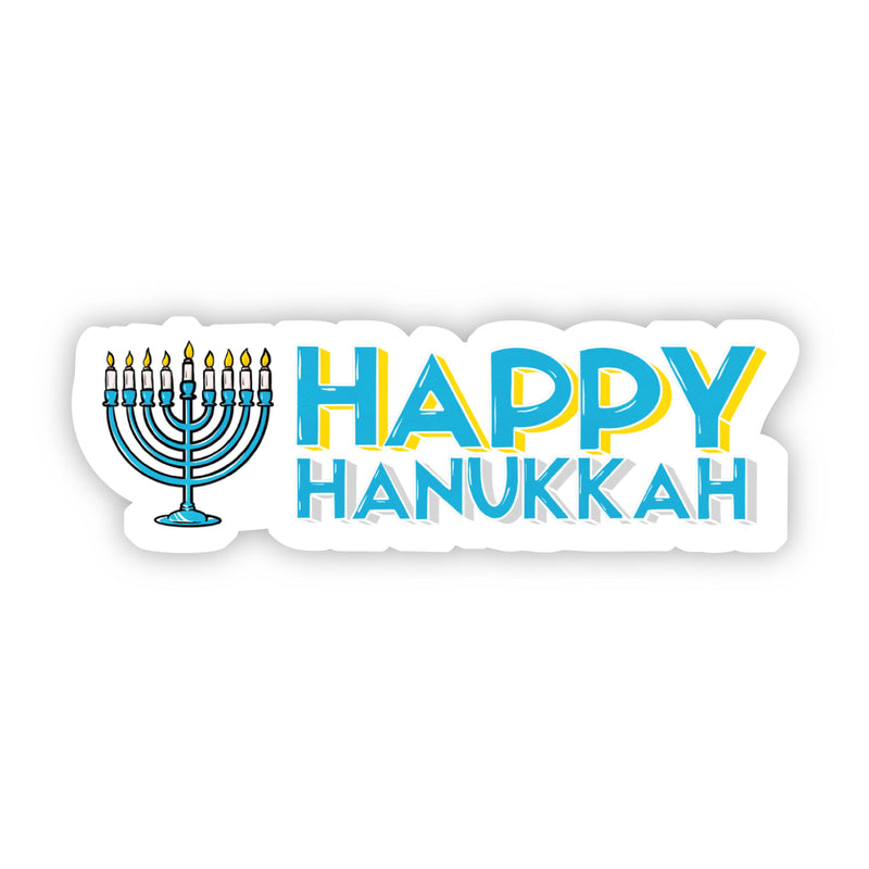 Happy Hanukkah Sticker with Menorah