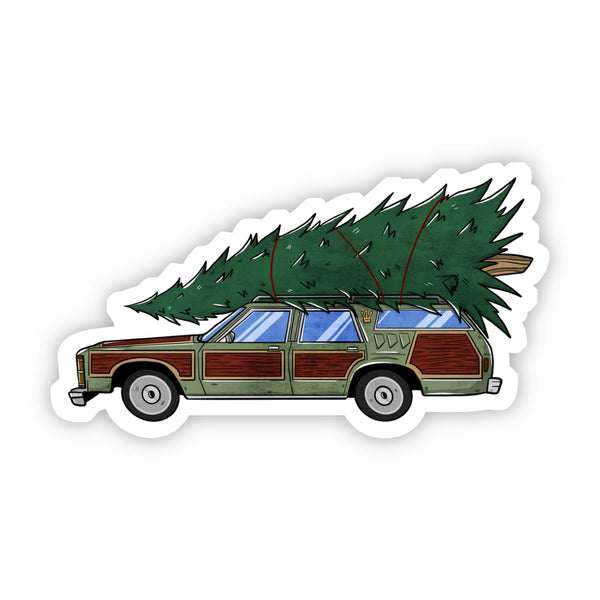 Christmas Tree on Station Wagon Sticker