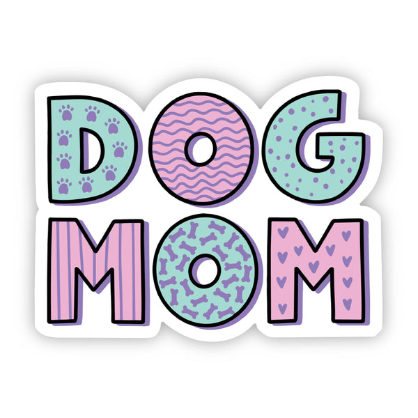 Dog Mom Green and Pink Sticker