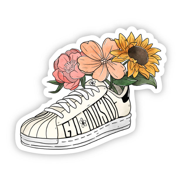 Go Outside Floral Shoe Sticker 1