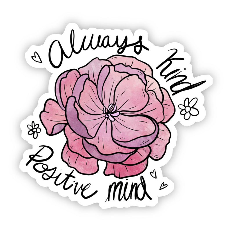 Always Kind Positive Mind Floral Peony Sticker