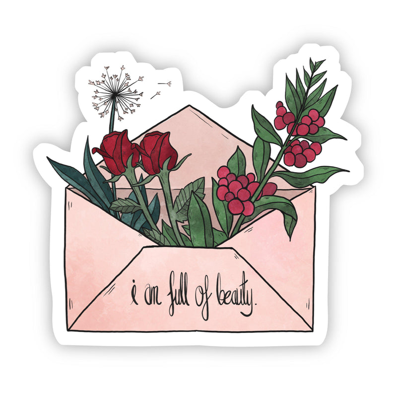 I Am Full of Beauty Floral Envelope Sticker - Cursive