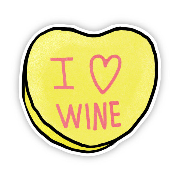 I Love Wine Heart Sticker