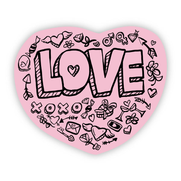 Love Bold Lettering Pink Sticker