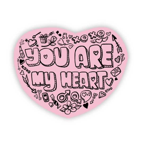You Are My Heart Pink Love Sticker