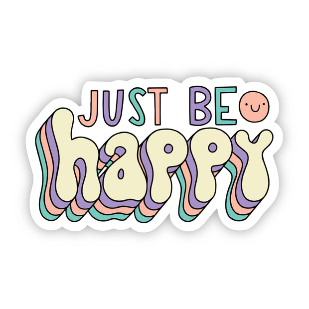 Just Be Happy Smiley Face Sticker 1