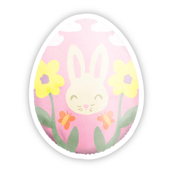 Pink Egg with Bunny and Flowers Easter Sticker