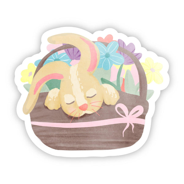 Sleeping Bunny in a Basket Easter Sticker