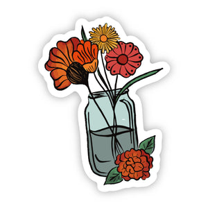 Orange Flowers in Glass Sticker
