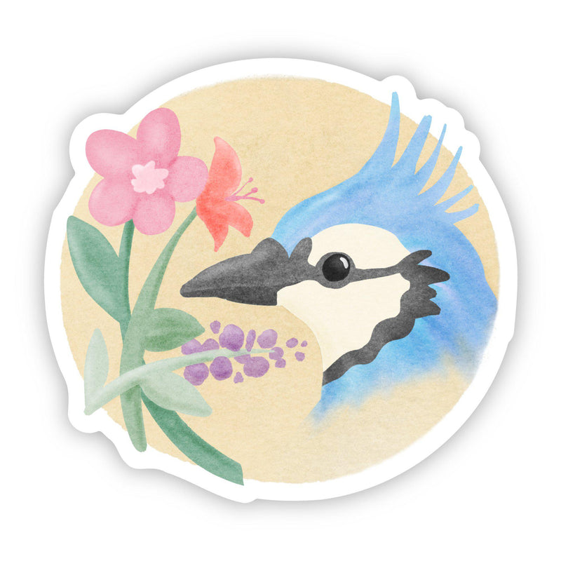 Bluejay Floral Sticker