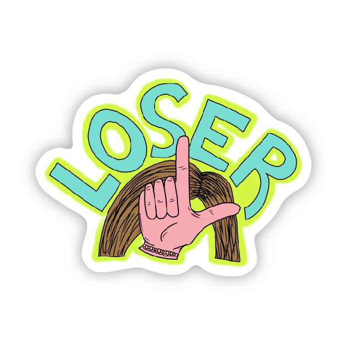 "loser ""L"" on forehead"