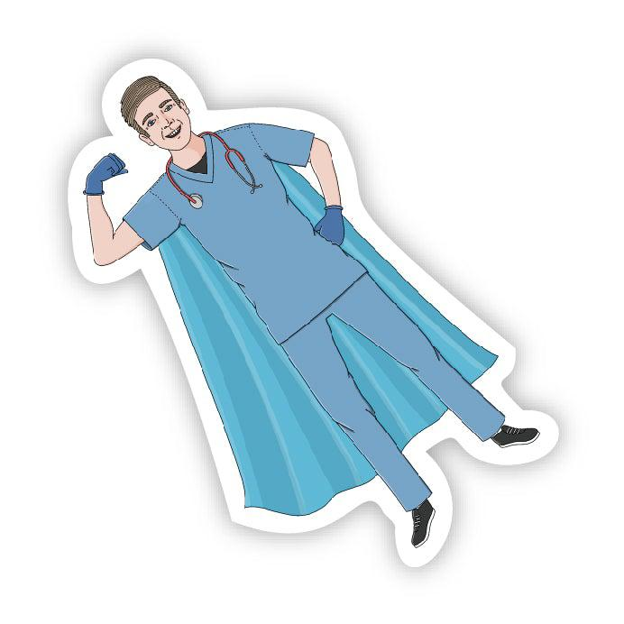 Superhero in scrubs male blue cape