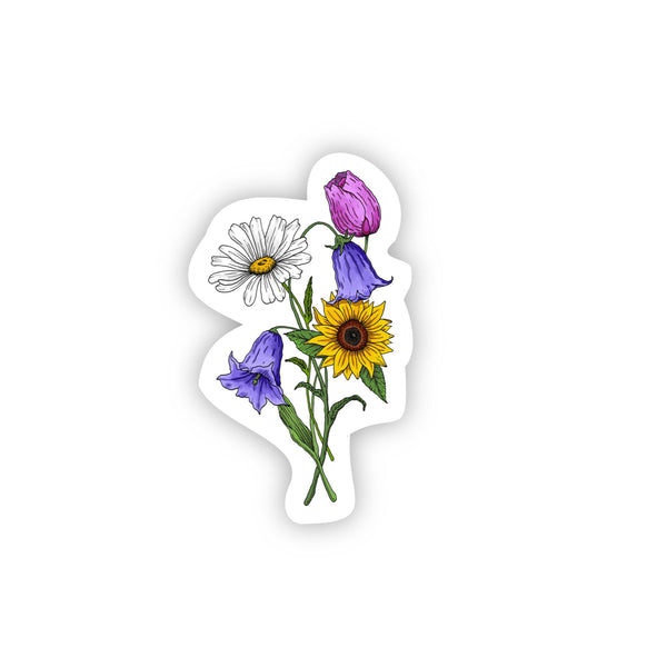 Sunflower, Daisy, Tulip, Bluebell Flower Bouquet Sticker