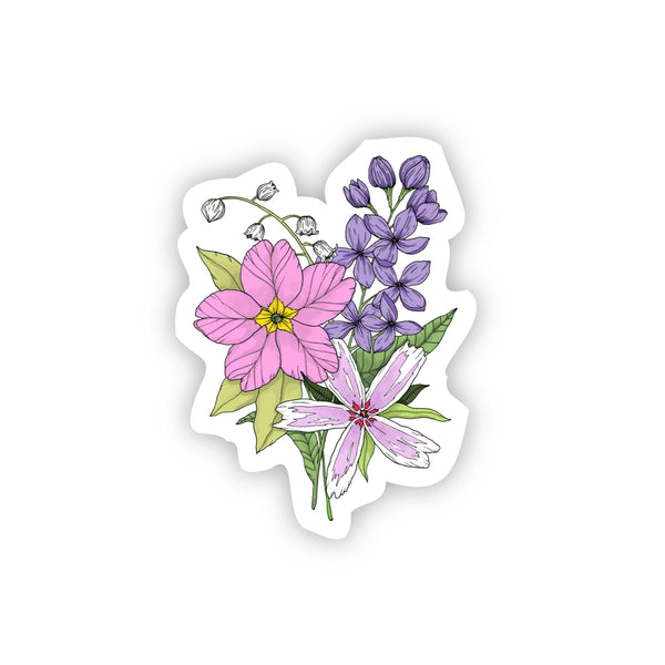 Flower Bouquet Sticker - Primrose, Lilac, Creeping Phlox, Lily of the valley