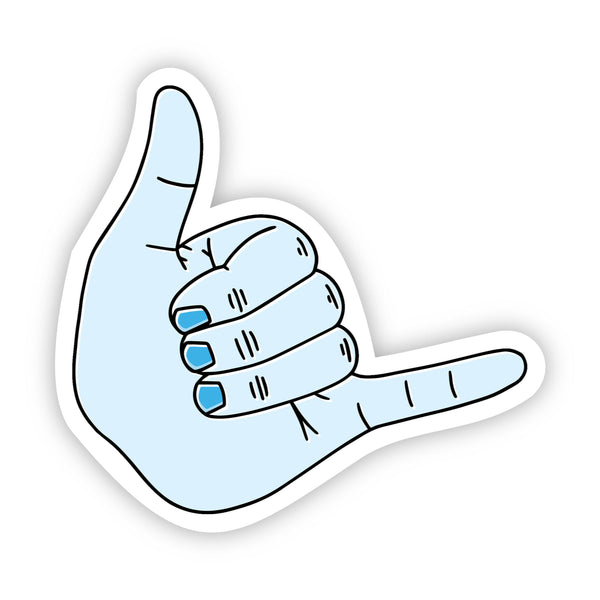 Shaka Light Blue Aesthetic Sticker - Hang Loose