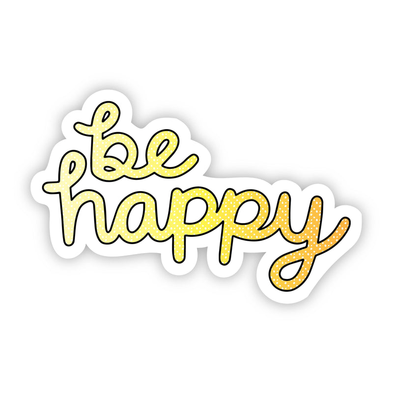 Be Happy Yellow Aesthetic Sticker