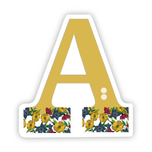 "Floral ""A"" Letter Sticker"