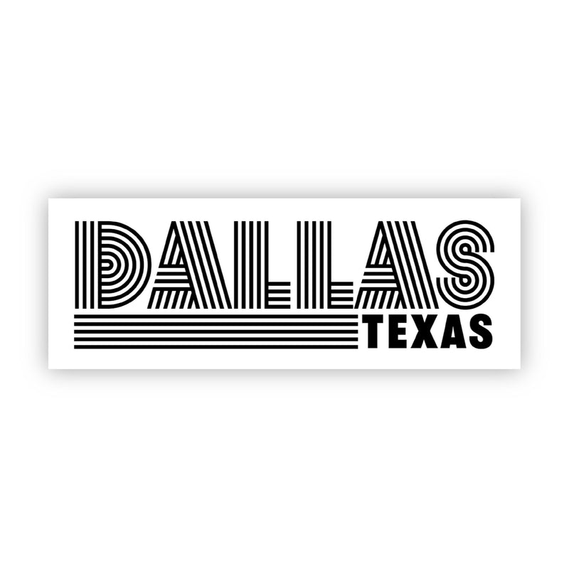 Dallas Texas Sticker (Black and White)