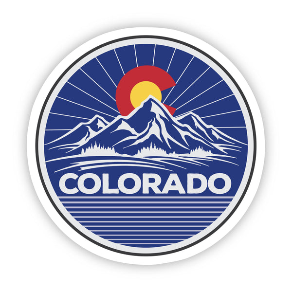 Colorado Mountains Circle Sticker