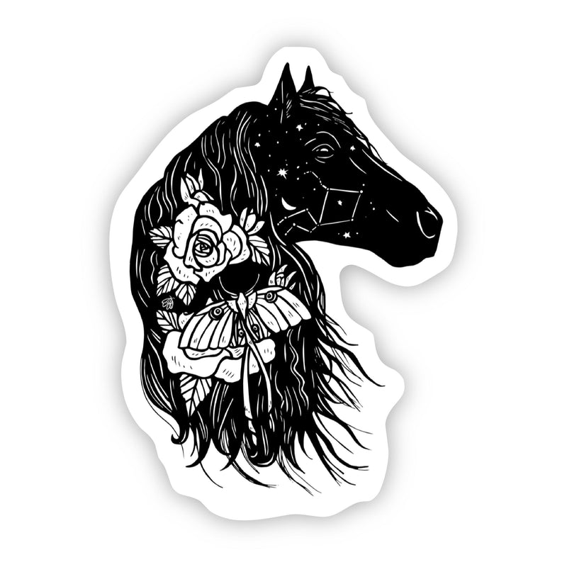 Horse Constellation and Floral Sticker