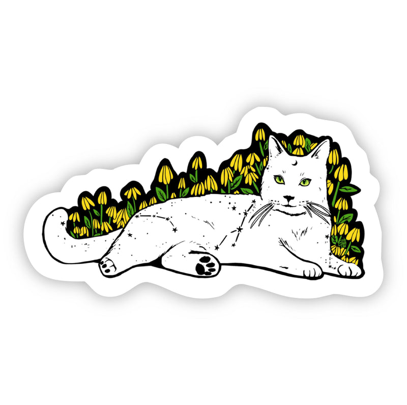 Yelllow Flowers and Cat Sticker