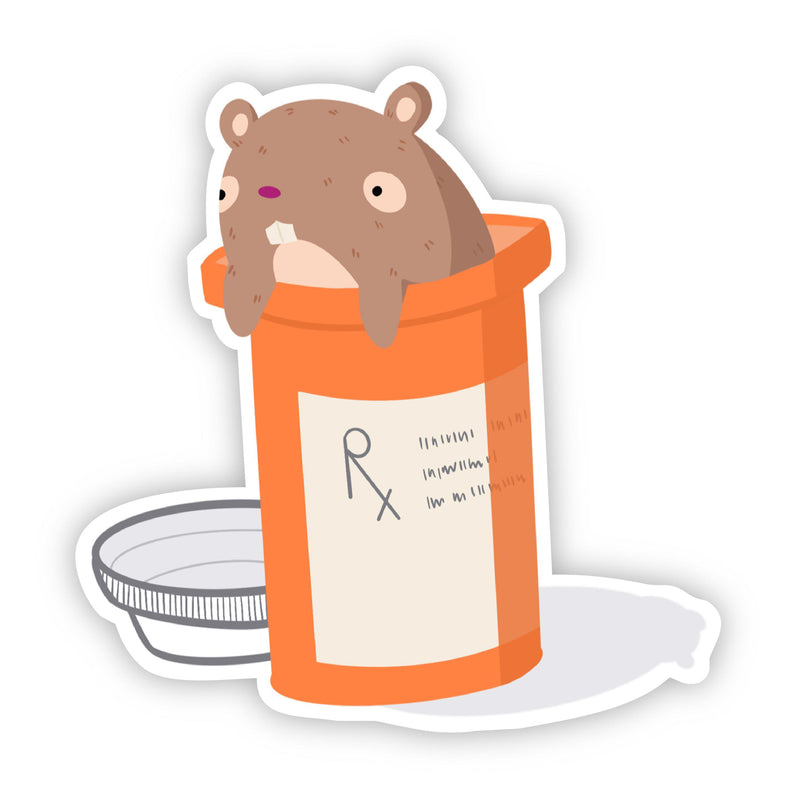 Hamster Pill Bottle Sticker