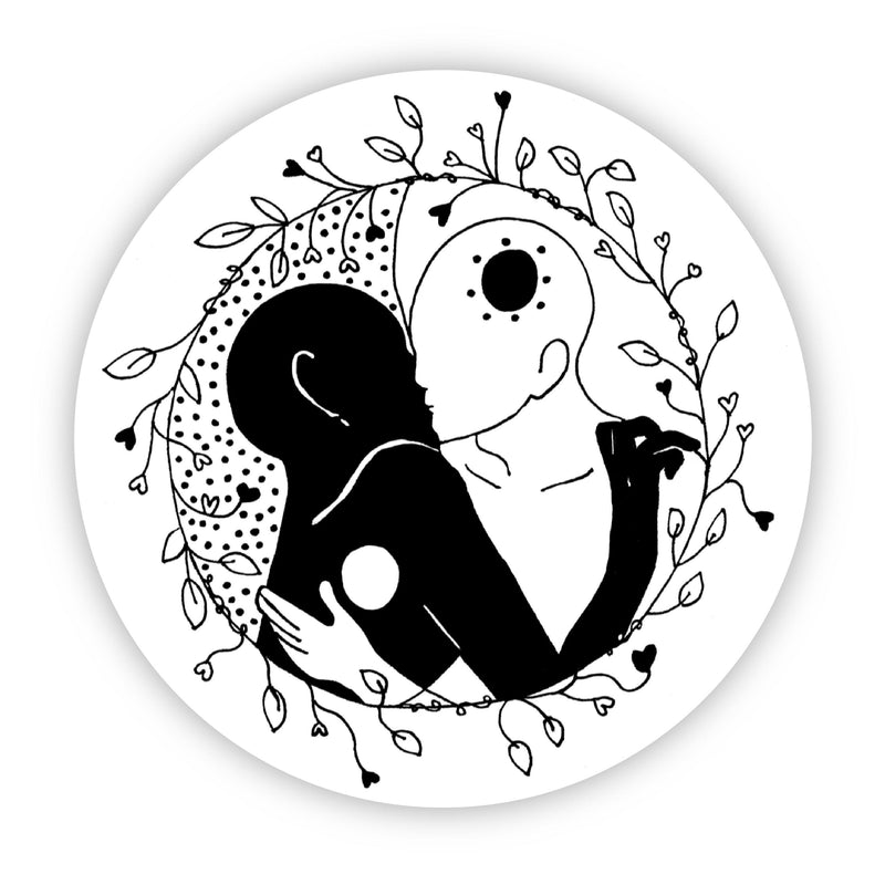 Black and White Kissing Sticker
