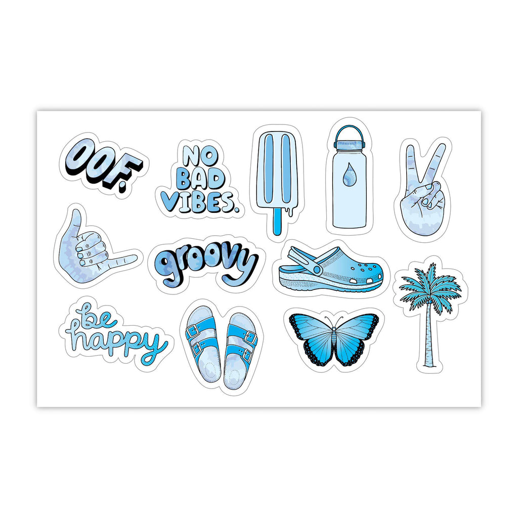 "Blue Aesthetic Stickers Mini 23 Pack SMALL 1"" x 1"" Water Bottle Stickers - VSCO Stickers - Phone Case Stickers - Laptop Stickers"