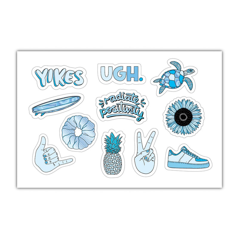 "Sheet of Mini Stickers - Blue Aesthetic Stickers - SMALL miniature 1"" x 1"" Water Bottle Stickers - VSCO Stickers - Phone Case Stickers - Laptop Stickers - 21 Designs"