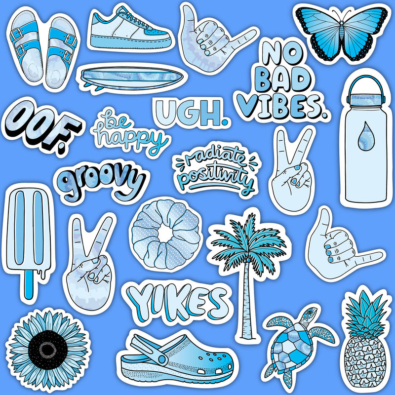 "Blue Aesthetic Sticker 23 Pack LARGE 3"" x3"""