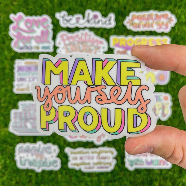 Make Yourself Proud Yellow Lettering Sticker 1