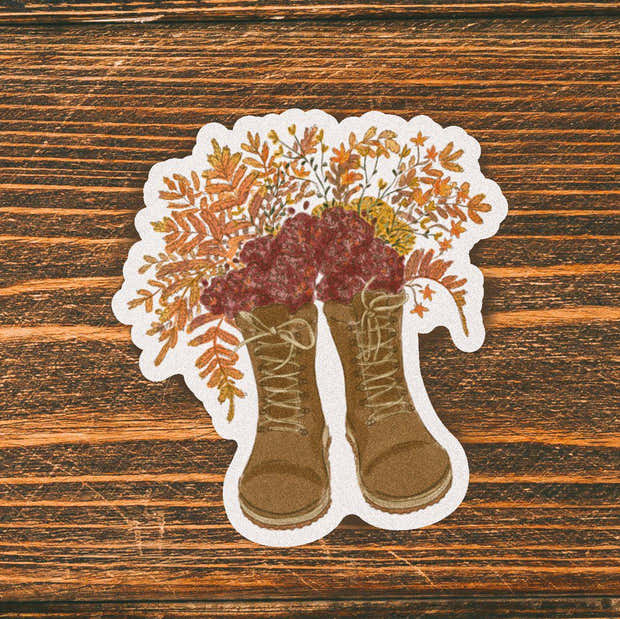 Floral Brown Boots Fall Sticker 1
