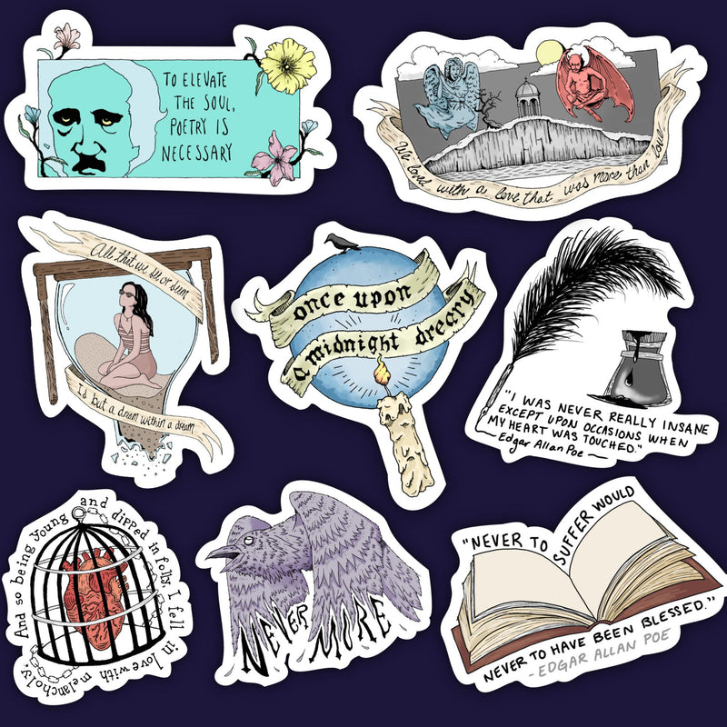 Edgar Allan Poe Sticker 8 Pack