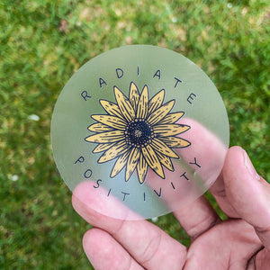 Radiate Positivity Sunflower - Clear Sticker