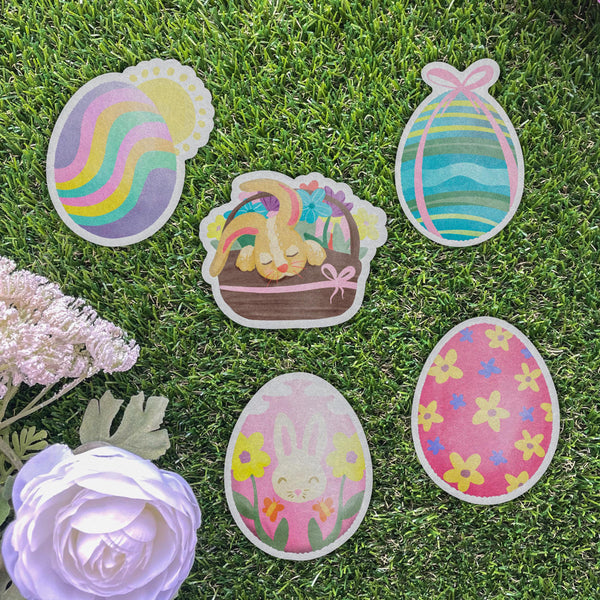 Pink Egg with Flowers Easter Sticker