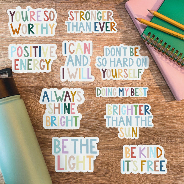Brighter Than the Sun Positivity Lettering Sticker 1